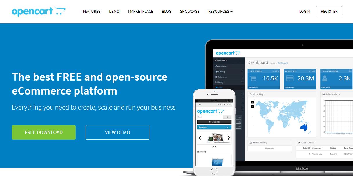 Веб-страница OpenCart