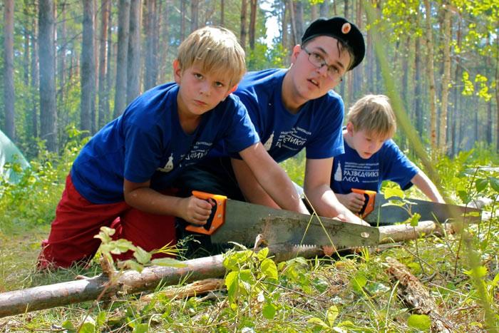 Дети рапиливают дерево