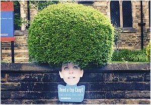 Девушка с зеленым деревом на голове