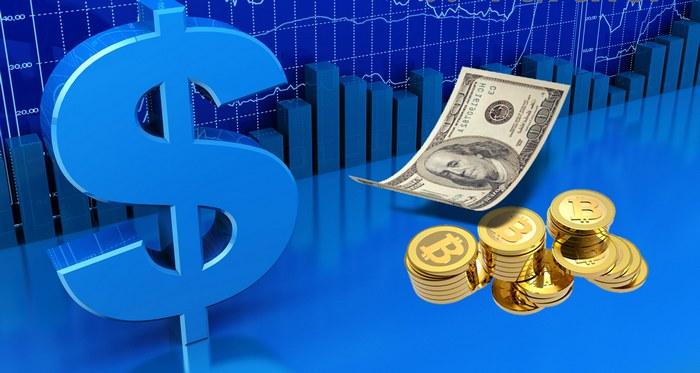 Значок доллара и купюры