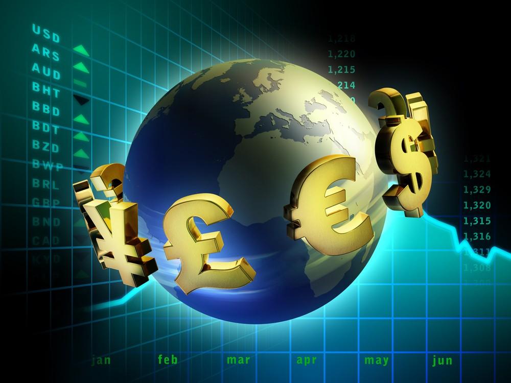 Глобус с денежными значками