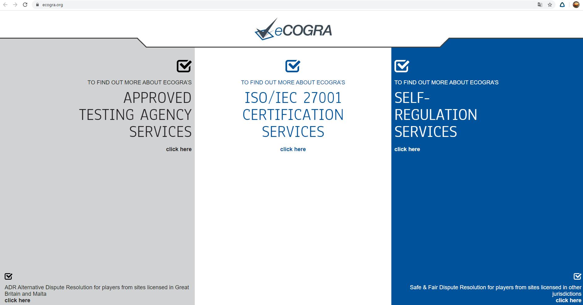 Сайт eCOGRA